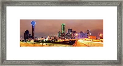 Panorama Of Downtown Dallas Skyline And Reunion Tower From South Houston Street Bridge - North Texas Framed Print