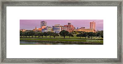 Panorama Of Downtown Fort Worth And Trinity River At Twilight - Dfw North Texas Framed Print