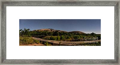 Panorama Of Enchanted Rock At Night - Starry Night Texas Hill Country Fredericksburg Llano Framed Print by Silvio Ligutti