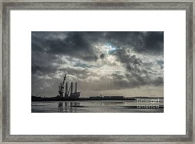 Panorama Of Esbjerg Oil Harbor With Rig Denmark Framed Print by Frank Bach