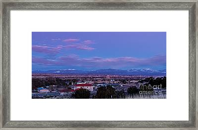 Panorama Of Espanola Valley With Sangre De Cristo Mountains During Twilight - Northern New Mexico Framed Print by Silvio Ligutti