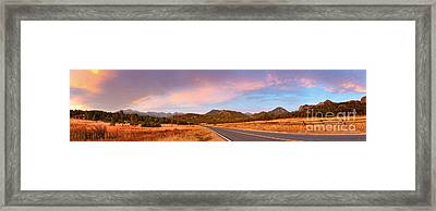 Panorama Of Estes Park Continental Divide And Lumpy Ridge - Rocky Mountains National Park Colorado Framed Print by Silvio Ligutti