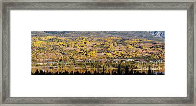 Panorama Of Frisco With Fall Foliage Aspens - Colorado Rocky Mountains Framed Print by Silvio Ligutti