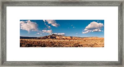 Panorama Of Ghost Ranch Mountains And Mesas - A Tribute To The Master - Abiquiu Northern New Mexico Framed Print by Silvio Ligutti