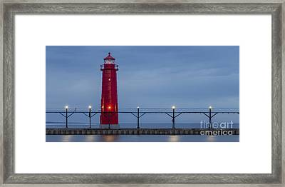 Panorama Of Grand Haven Inner Range Lighthouse Framed Print by Twenty Two North Photography