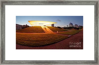 Panorama Of James Turrell Skyspace Twilight Epiphany - Rice University Houston Texas Framed Print