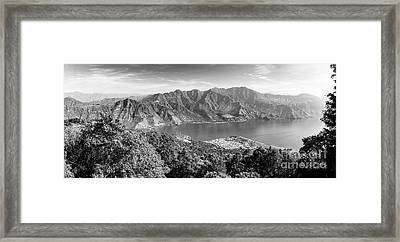 Framed Print featuring the photograph Panorama Of Lake Atitlan Black And White by Tim Hester