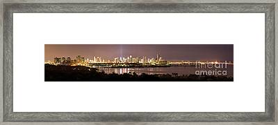 Panorama Of Miami At Night Framed Print by Matt Tilghman