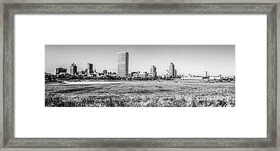 Panorama Of Milwaukee Skyline Black And White Picture Framed Print