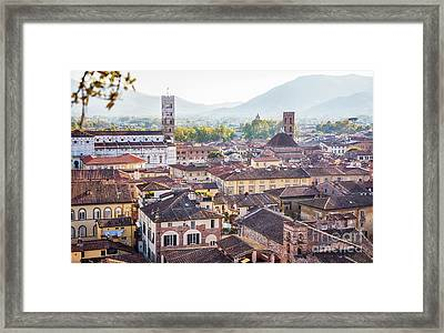 Framed Print featuring the photograph panorama of old town Lucca, Italy by Ariadna De Raadt