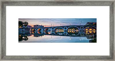 Framed Print featuring the photograph Panorama Of Pont Neuf In Toulouse by Elena Elisseeva