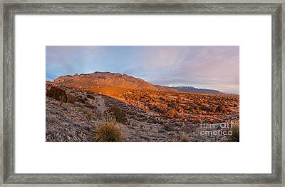 Panorama Of Sandia Mountains At Sunset - Albuquerque New Mexico Framed Print by Silvio Ligutti