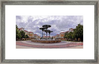 Panorama Of Texas Christian University Campus Commons And Frog Fountain - Fort Worth Texas Framed Print