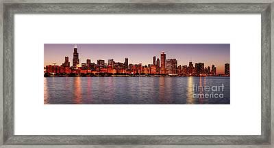 Panorama Of The Chicago Skyline At Twilight From Adler Planetarium - Chicago Illinois Framed Print by Silvio Ligutti
