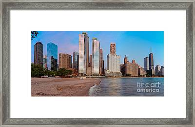 Panorama Of The Chicago Skyline From Milton Lee Olive Park At Sunrise - Chicago Illinois Framed Print by Silvio Ligutti