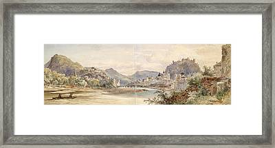 Panorama Of The City Of Salzburg With The Fortress Hohensalzburg Framed Print by Anton Altmann the Younger