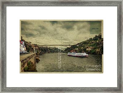 Framed Print featuring the digital art panorama of the Douro river, Dom Luiz Bridge of  Porto, Portugal by Ariadna De Raadt