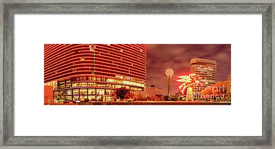 Panorama Of The Original Pegasus, Reunion Tower, And Omni Hotel In Downtown Dallas - North Texas Framed Print