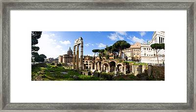 Panorama Of The Roman Forum Framed Print by John  Bartosik