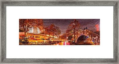 Panorama Of The San Antonio Riverwalk During Christmas - San Antonio Bexar County Texas Framed Print