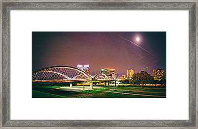 Panorama Of The Seventh Street Bridge And Downtown Fort Worth With Full Moon Above - Trinity River Framed Print