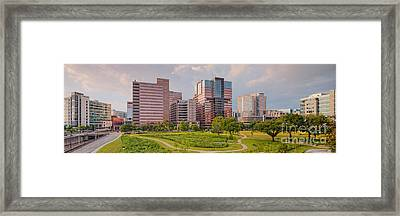 Panorama Of The Texas Medical Center From Fannin Street Transit Center Overpass - Houston Texas Framed Print by Silvio Ligutti