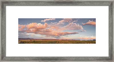 Panorama Of Twilight Clouds Over Tetilla Peak Recreation Area - Cochiti Lake New Mexico Framed Print