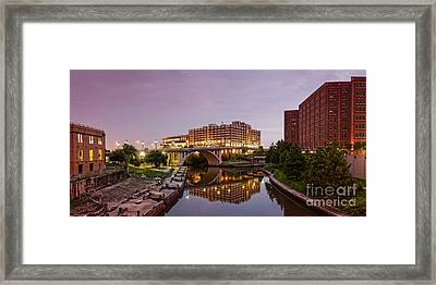 Panorama Of University Of Houston Downtown At Twilight - Reflection On Buffalo Bayou - Houston Texas Framed Print by Silvio Ligutti