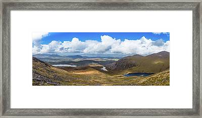 Framed Print featuring the photograph Panorama Of Valleys And Mountains In County Kerry On A Summer Da by Semmick Photo