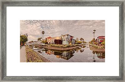 Panorama Of Venice Beach Canals - Los Angeles California Framed Print by Silvio Ligutti