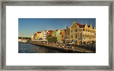 Panorama Of Willemstad Waterfront Curacao Framed Print by David Smith