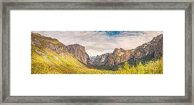 Panorama Of Yosemite Valley From Tunnel View Scenic Overlook - Sierra Nevada Mountains California Framed Print by Silvio Ligutti