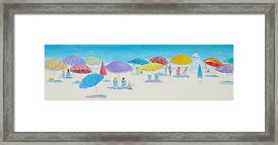 Panorama Painting Of Main Beach East Hampton Framed Print by Jan Matson