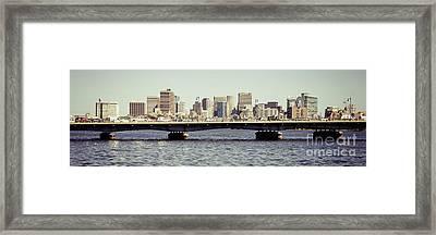 Panorama Photo Of Boston Skyline And Harvard Bridge Framed Print