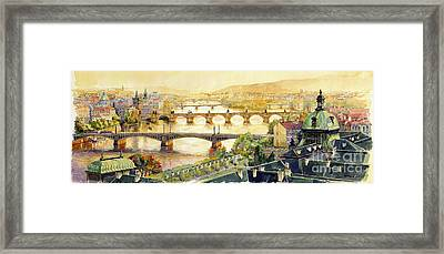 Panorama Prague Briges Framed Print by Yuriy  Shevchuk