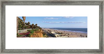 Panorama View Of Beach And Blue Sky Framed Print by Panoramic Images