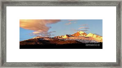Panorama View Of Longs Peak At Sunrise Framed Print