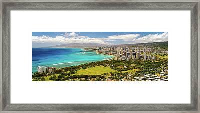 Panorama - Waikiki, Honolulu, Oahu, Hawaii Framed Print