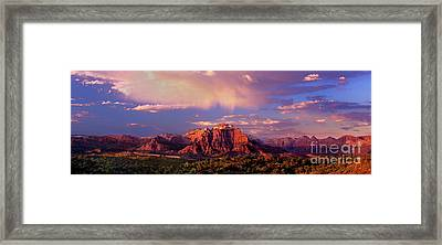 Panorama West Temple At Sunset Zion Natonal Park Framed Print