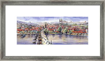 Panorama With Vltava River Charles Bridge And Prague Castle St Vit Framed Print by Yuriy  Shevchuk