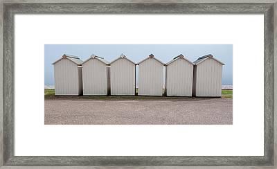 Panoramic Beach Huts Framed Print by Helen Northcott