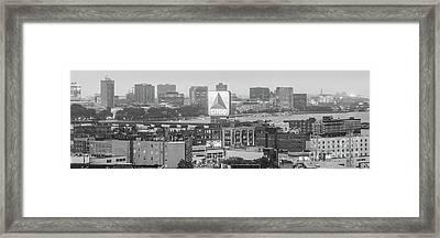 Panoramic Boston Skyline Aerial Photo Framed Print by Paul Velgos