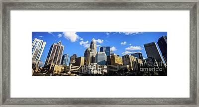 Panoramic Charlotte Skyline Photo Framed Print by Paul Velgos
