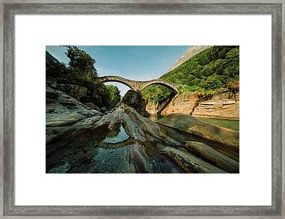 Panoramic Double Arch Stone Bridge At Lavertezzo Framed Print by Marcell Faber