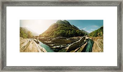 Panoramic Double Arch Stone Bridge, Lavertezzo Framed Print by Marcell Faber