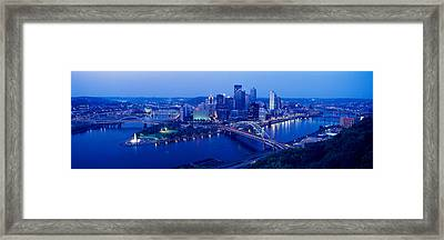 Panoramic Evening View Of Pittsburgh Framed Print