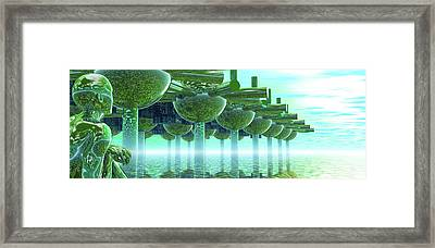 Panoramic Green City And Alien Or Future Human Framed Print by Nicholas Burningham