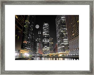Panoramic Lakefront View In Chicago Framed Print by Frozen in Time Fine Art Photography