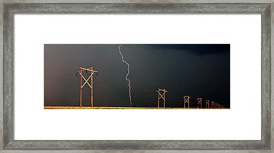 Panoramic Lightning Storm And Power Poles Framed Print
