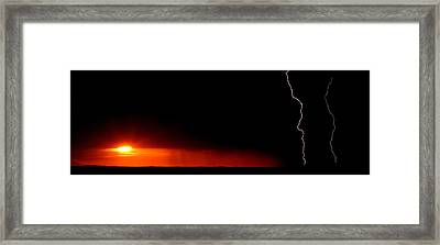 Panoramic Lightning Storm And Sunset Framed Print